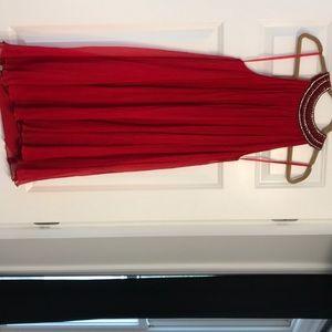La Femme red chiffon dress with rhinestone bib.